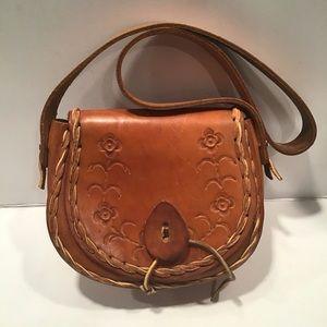 Handbags - Brown Tooled Leather Mini Bag No Label